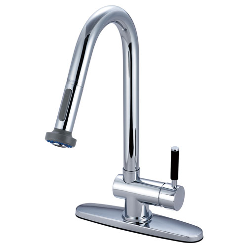 Kingston Kaiser Chrome Single Handle Pull Down Sprayer Kitchen Faucet GS8881DKL
