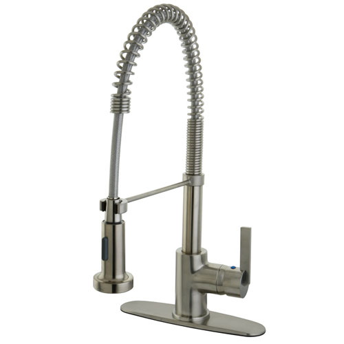 Kingston Brass Satin Nickel Single Handle Pre-rinse Kitchen Faucet GS8888CTL