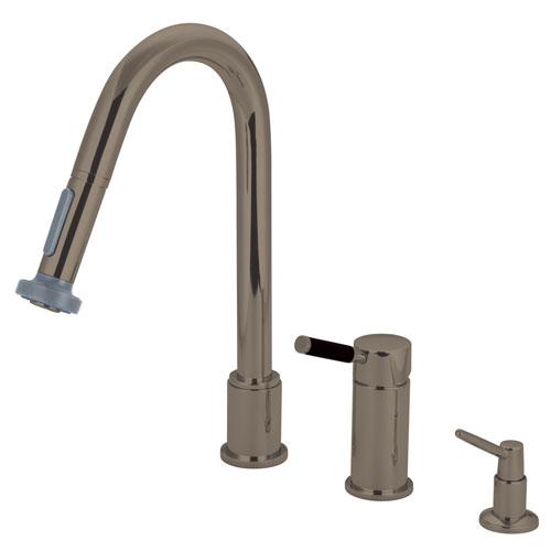 Kaiser Satin Nickel Pull down spray Kitchen Faucet & Soap Dispenser GS8918DKLK8