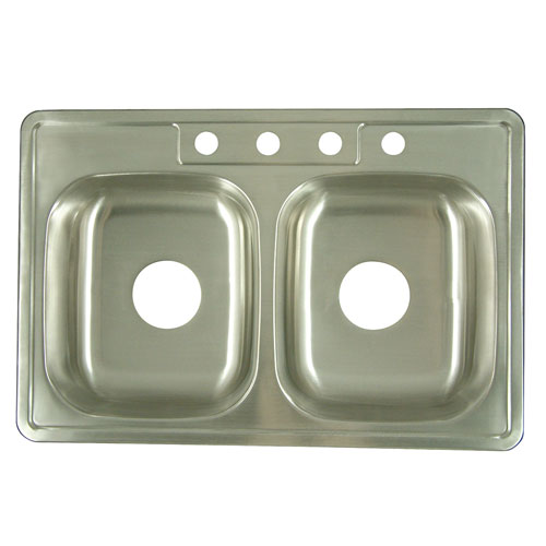 Brushed Nickel Gourmetier Double Bowl Self-Rimming Kitchen Sink K33226DBN