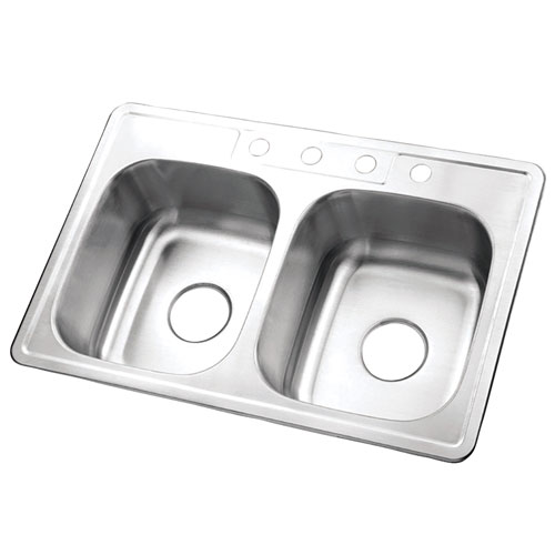 Brushed Nickel Gourmetier Double Bowl Self-Rimming Kitchen Sink K33228DBN