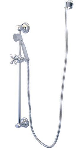 Kingston Brass Chrome 4 Piece Handheld Shower head Combo with slidebar KAK3321W1
