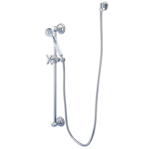 Kingston Brass Chrome 4 Piece Handheld Shower head Combo with slidebar KAK3421W1