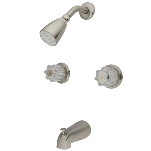 Kingston Americana Satin Nickel Two Handle Tub & Shower Combination Faucet KB148