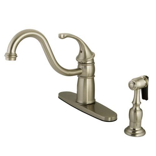 Kingston Brass Satin Nickel Georgian kitchen faucet w brass sprayer KB1578GLBS