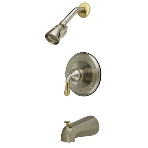 Satin Nickel/Polished Brass Magellan tub and shower combination faucet KB1639