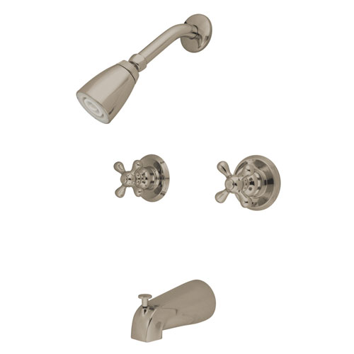 Kingston Brass Satin Nickel 2 Handle Tub and Shower Combination Faucet KB248AX