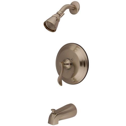 Kingston Brass Satin Nickel NuFrench tub & shower combination faucet KB2638DFL