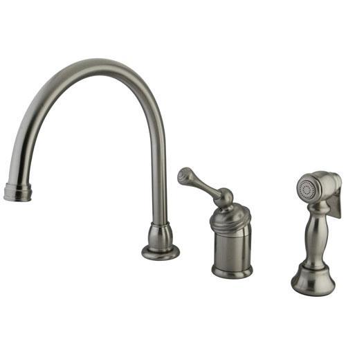 Kingston Satin Nickel Single Handle Kitchen Faucet with Brass Sprayer KB3818BLBS