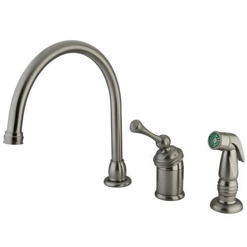 Kingston Satin Nickel Single Handle Kitchen Faucet w Chrome Sprayer KB3818BLSP