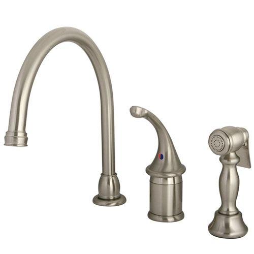 Kingston Brass Satin Nickel Georgian kitchen faucet w brass sprayer KB3818GLBS