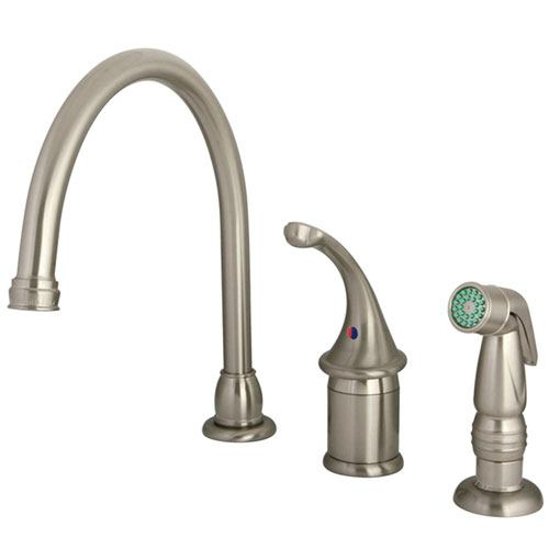 Kingston Brass Satin Nickel Georgian kitchen faucet with sprayer KB3818GLSP
