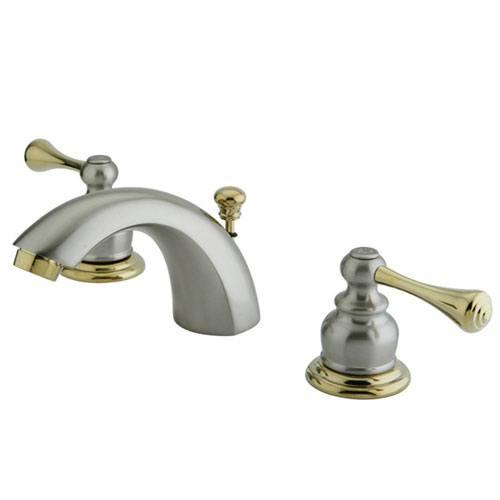 Kingston Satin Nickel/Polished Brass Mini Widespread Bathroom Faucet KB3949BL