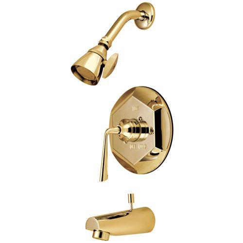 Kingston Silver Sage Polished Brass Tub & Shower Combination Faucet KB4632ZL