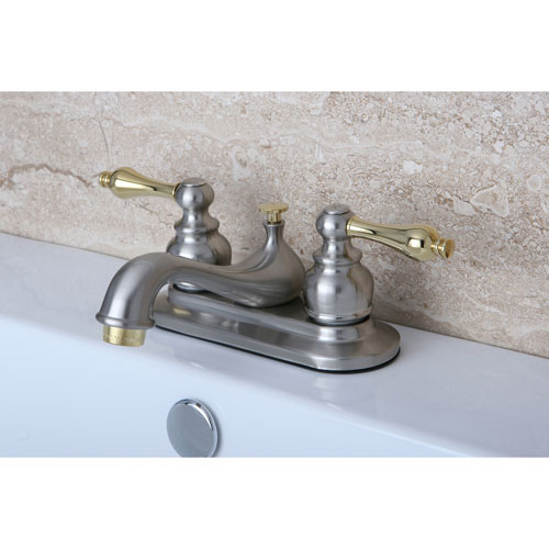 Kingston Satin Nickel / Polished Brass Centerset Bathroom Faucet KB609AL