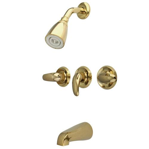 Kingston Polished Brass Three Handle Tub and Shower Combination Faucet KB6232LL