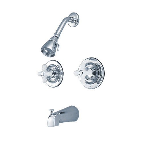 Kingston Brass Chrome 2 Handle Tub and Shower Combination Faucet KB661PX
