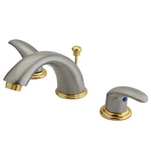 Kingston Satin Nickel/Polished Brass Widespread Bathroom Faucet KB6969LL