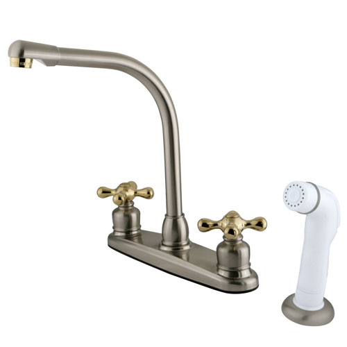 Kingston Satin Nickel / Polished Brass Hi-Arch Kitchen Faucet w Sprayer KB719AX