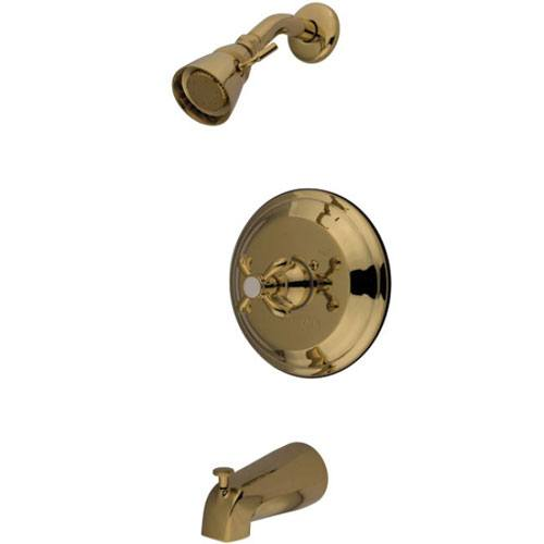 Kingston Polished Brass French Country Tub & Shower Combination Faucet KB7632TX
