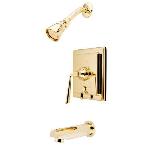 Kingston Silver Sage Polished Brass Tub & Shower Faucet With Diverter KB86520ZL