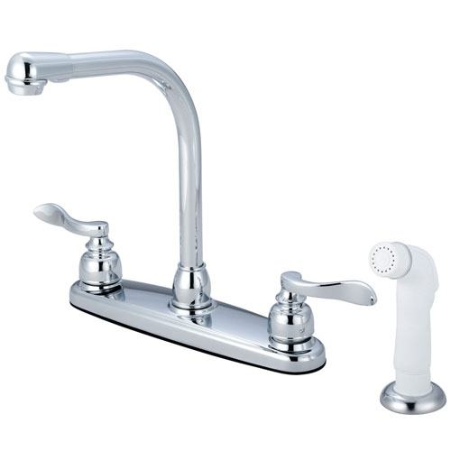 Kingston Brass Chrome NuWave French centerset kitchen faucet w/spray KB8751NFL