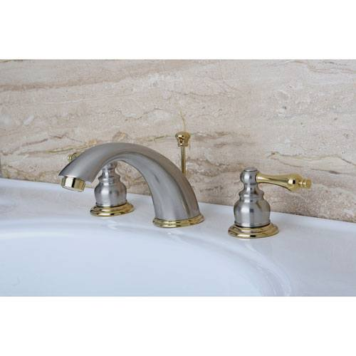 Bathroom Faucets Kingston kingston satin nickel / polished brass 2 hdl widespread bathroom