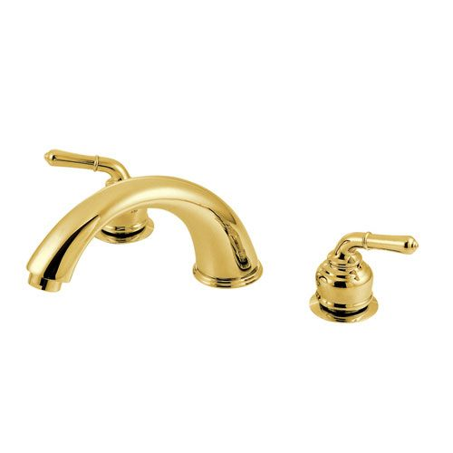 Kingston Polished Brass Magellan lever handle roman tub filler faucet KC362