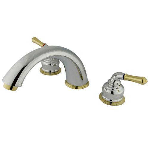 Kingston Brass Chrome/Polished Brass Magellan roman tub filler faucet KC364