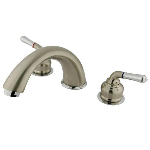 Kingston Satin Nickel/Chrome Magellan lever handle roman tub filler faucet KC367
