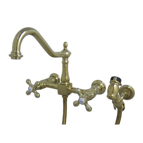 Cross Handle Polished Brass Wall Mount Kitchen Faucet W Sprayer KS1242AXBS