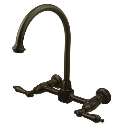 High Arch Lever Handle Oil Rubbed Bronze Wall Mount Kitchen Faucet KS1295AL