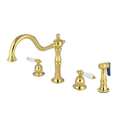 Kingston Brass Polished Brass 2 Handle Kitchen Faucet w sprayer