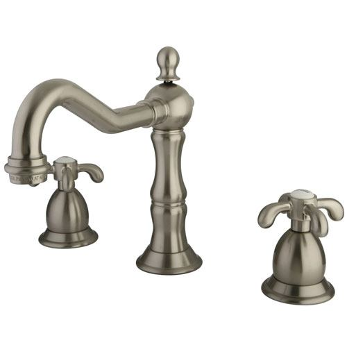 Kingston Brass Satin Nickel French Country Widespread Bathroom Faucet KS1978TX
