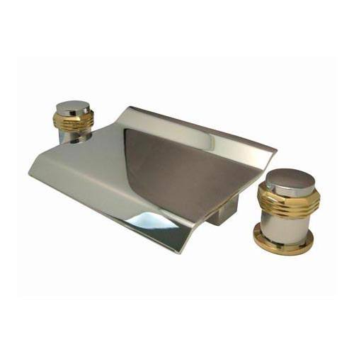 Kingston Chrome / Polished Brass Waterfall Roman Tub Filler Faucet KS2244MR