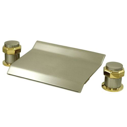 Satin Nickel / Polished Brass Waterfall Roman Tub Filler Faucet KS2249AR