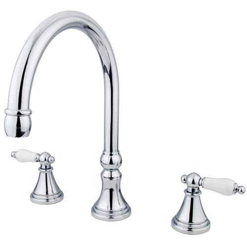 Kingston Brass Chrome Two Handle Roman Tub Filler Faucet KS2341PL