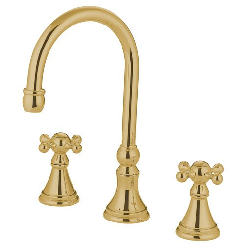 Kingston Brass Polished Brass Two Handle Roman Tub Filler Faucet KS2342KX