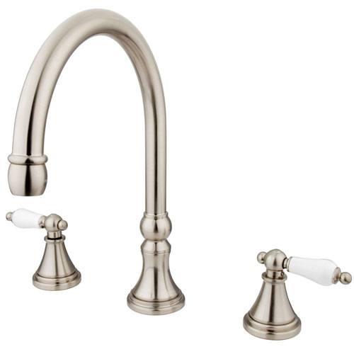 Kingston Brass Satin Nickel Two Handle Roman Tub Filler Faucet KS2348PL