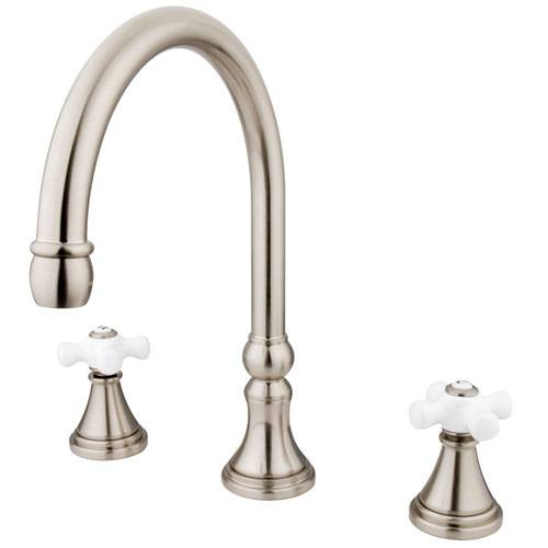 Kingston Brass Satin Nickel Two Handle Roman Tub Filler Faucet KS2348PX