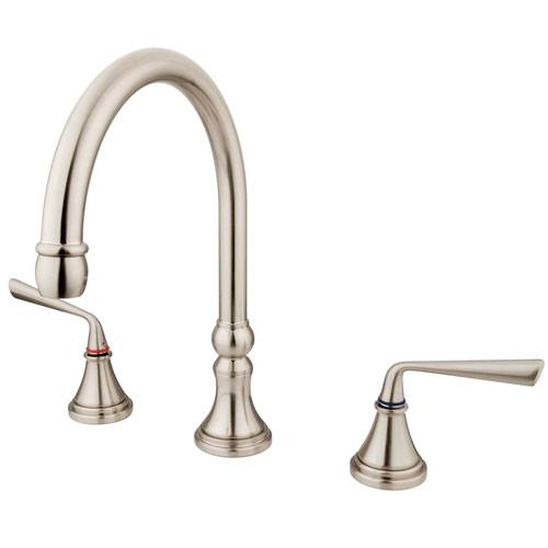 Kingston Silver Sage Satin Nickel Bathroom Roman Tub Filler Faucet KS2348ZL