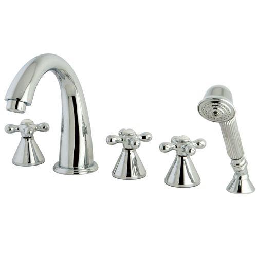Chrome Roman Three Handle Roman Tub Filler Faucet w Hand Shower KS23615AX