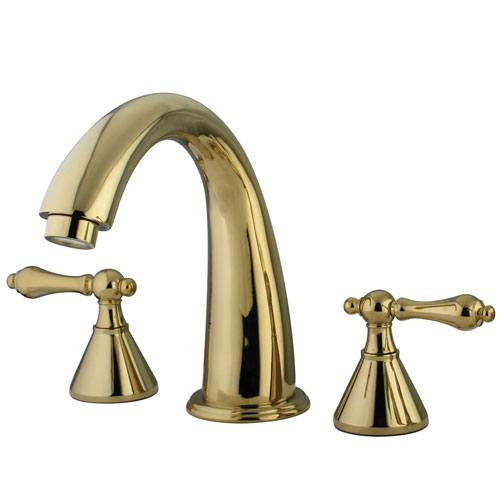Kingston Brass Polished Brass Naples Two Handle Roman Tub Filler Faucet KS2362AL
