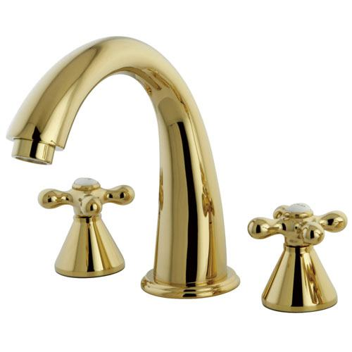 Kingston Brass Polished Brass Naples Two Handle Roman Tub Filler Faucet KS2362AX