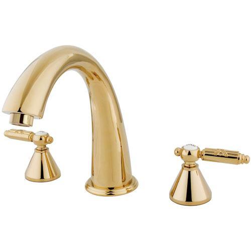 Kingston Brass Polished Brass Two Handle Roman Tub Filler Faucet KS2362GL