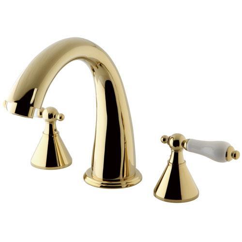 Kingston Brass Polished Brass Naples Two Handle Roman Tub Filler Faucet KS2362PL