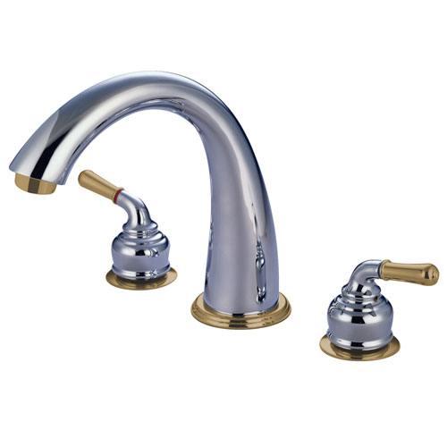 Kingston Chrome / Polished Brass Two Handle Roman Tub Filler Faucet KS2364