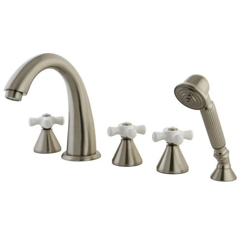 Satin Nickel 3 handle Roman Tub Filler Faucet with Hand Shower KS23685PX