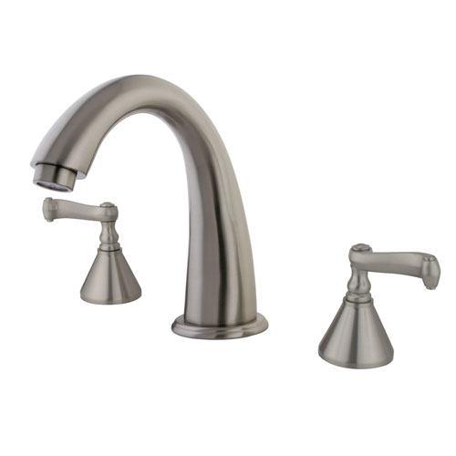 Kingston Brass Satin Nickel Two Handle Roman Tub Filler Faucet KS2368FL