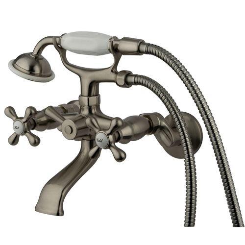 Kingston Satin Nickel Tub wall Mount Clawfoot tub Faucet w Hand Shower KS265SN